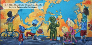 mural of kids and the world