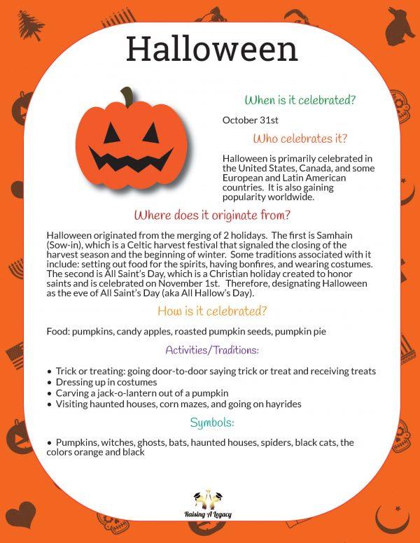 Halloween Learning Packet - Origins